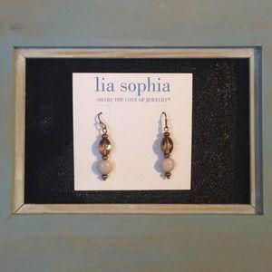 Brown and cream bead drop earrings Lia Sophia